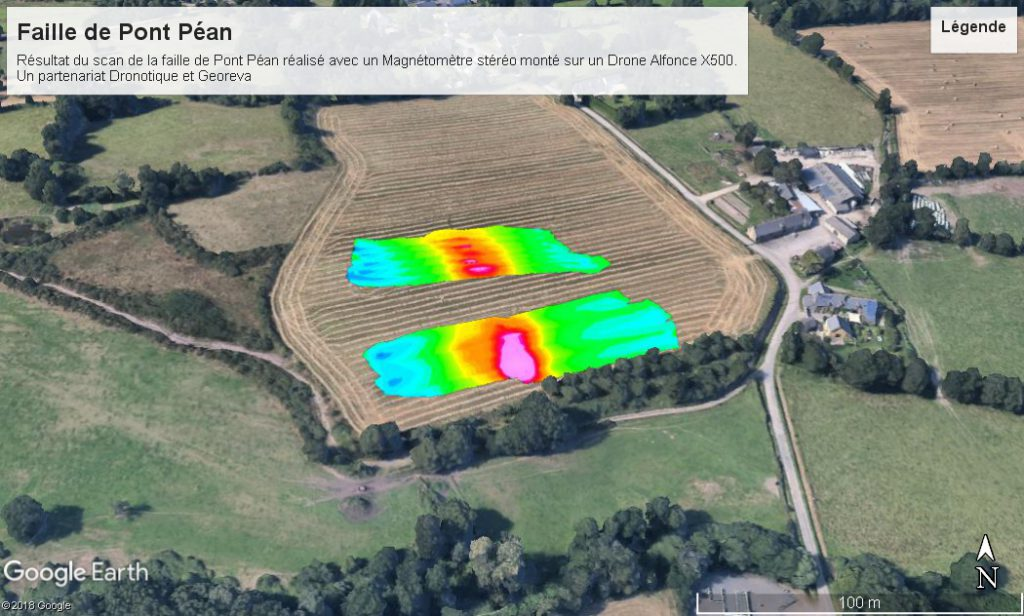 Scan result of the fault of Pont Péan with a magnetometer mounted on a drone Alfonce X500